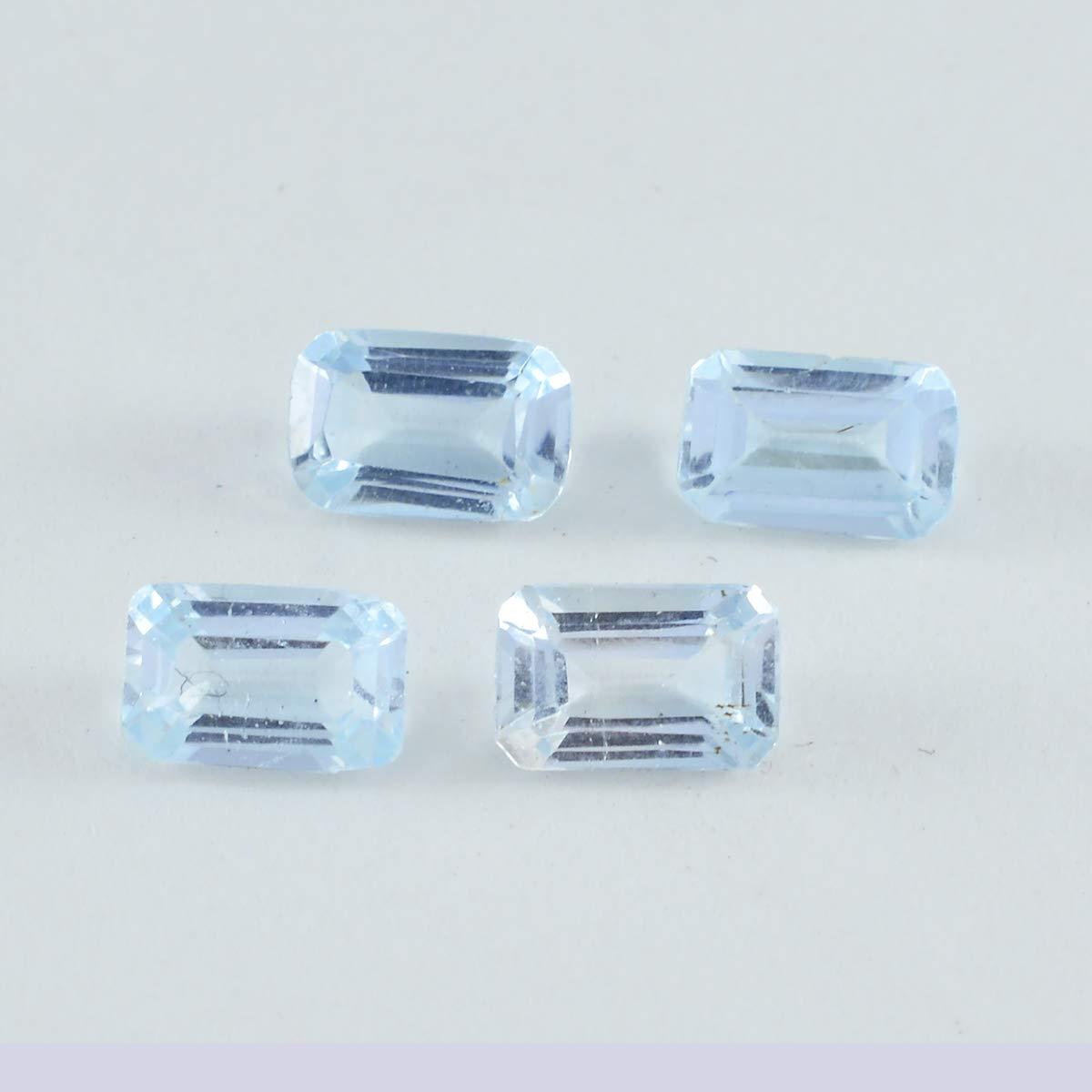 joyas plata 1pc topaze bleue facettes 6x8 mm octogone belle qualit/é gemmes