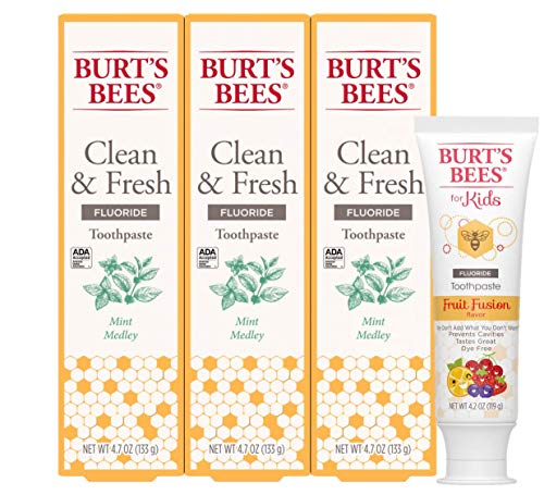 Burt's Bees Toothpaste With Fluoride Clean & Fresh, Mint Medley, 4.7oz 3 Count and Kids Toothpaste With Fluoride, Fruit Fusion, 4.2 Ounce