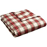 Pinzon 160 Gram Plaid Flannel Duvet Cover - Full/Queen, Cream/Red Plaid