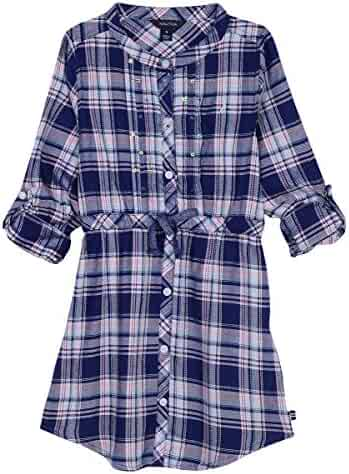 Nautica Girls' Rayon Plaid Shirtdress