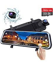 """10"""" Mirror Dash Cam Backup Camera Full Touch Screen HD Stream Media 1296P Front and Rear with Night Vision Waterproof Rear View Camera with Loop [ Contain Free 32GB SD Card ]"""