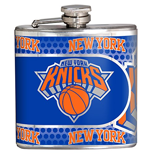NBA New York Knicks Stainless Steel Hip Flask with Metallic Graphics, 6 oz., Silver -