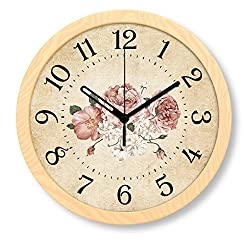 Foxtop Silent Non-ticking 8 Inches Wall Clock Quiet Sweep Decorative Classic Vintage Retro Wood-Looking Clocks Pastoral Home Style Present Gift (Beige)