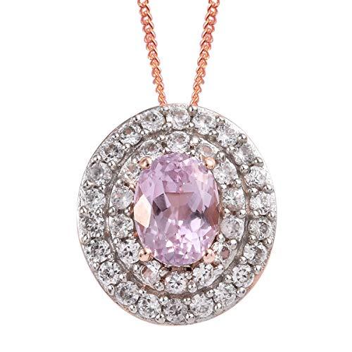 AA Premium Kunzite Zircon Pendant Necklace 20