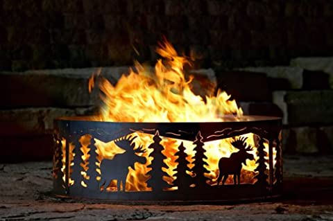 Campfire Fire Ring w Moose Cutout Design - Solid Steel (30 in. Dia.) (Moose Fire Pit Ring)