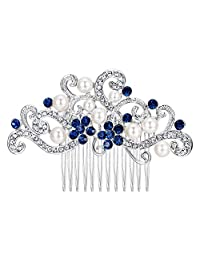 Ever Faith Silver-Tone Austrian Crystal Cream Simulated Pearl Floral Vine Bridal Hair Comb