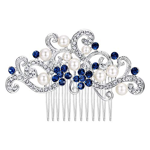 EVER FAITH Silver-Tone Austrian Crystal Cream Simulated Pearl Floral Vine Bridal Hair Side Comb Blue