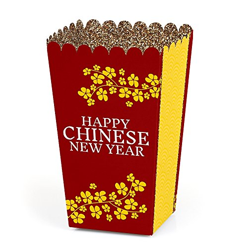 Chinese New Year - Year of the Dog Favor Popcorn Treat Boxes - Set of 12