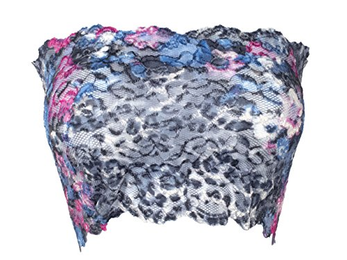 Ally Rose Topper Stretch Lace Camisole Bandeau Tube Top 8 Inches Long Floral Print L -