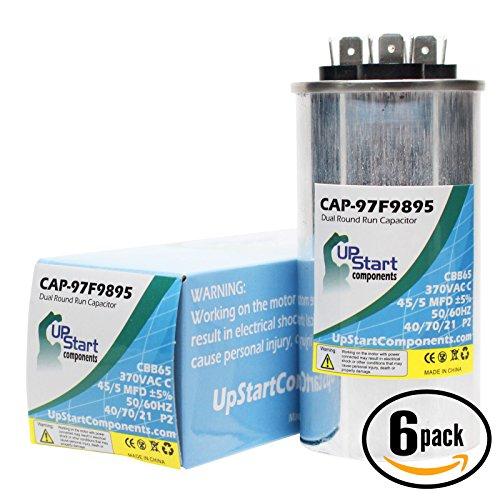 6-Pack 45/5 MFD 370 Volt Dual Round Run Capacitor Replacement for Goodman / Janitrol SSZ140481 - CAP-97F9895, UpStart Components Brand