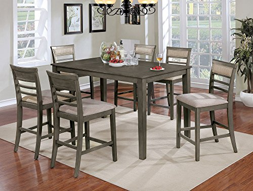 William's Home Furnishing CM3607PT-7PK Fafnir Counter Height Table Set, Weathered Gray/Beige