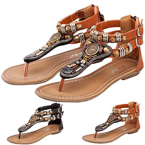 Oasap Summer Thong Sandals Sandalias Elegante con Hebilla para Mujer Negro
