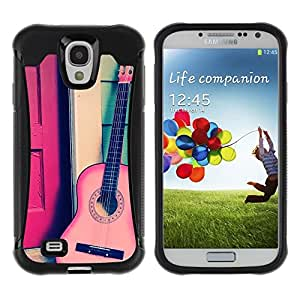 Suave TPU Caso Carcasa de Caucho Funda para Samsung Galaxy S4 I9500 / Play Classical Travel Free Music Instrument / STRONG