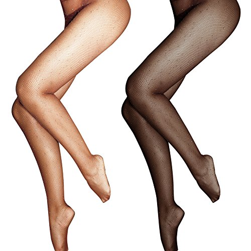 Lady Up Fishnet Pantyhose Glitter Net Tights Stockings for Women Black and Nude