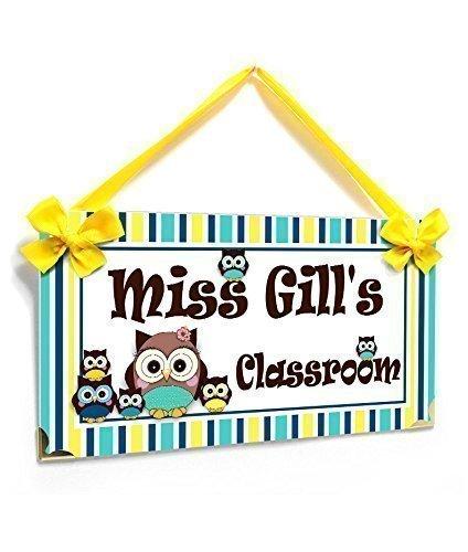 amazon com teacher signs for classroom door cute owls with stripes