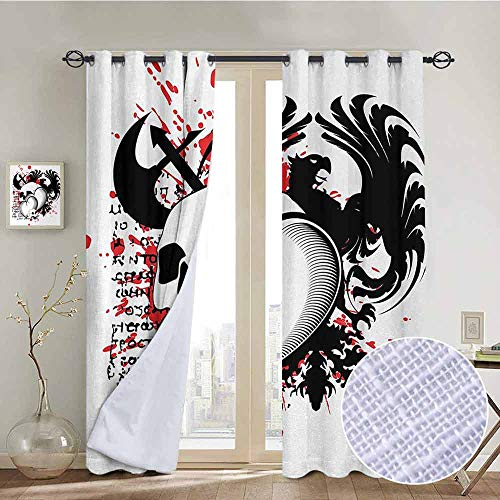 NUOMANAN backout Curtains for Bedroom Tattoo,Conjoined Hearts with Skull Eagle Wings Symbol of Brave Love Valentines,Black White and Red,Pocket Thermal Insulated Tie Up Curtain 100