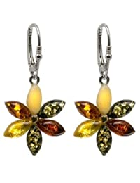 Sterling Silver Multicolor Amber Flowers Leverback Earrings