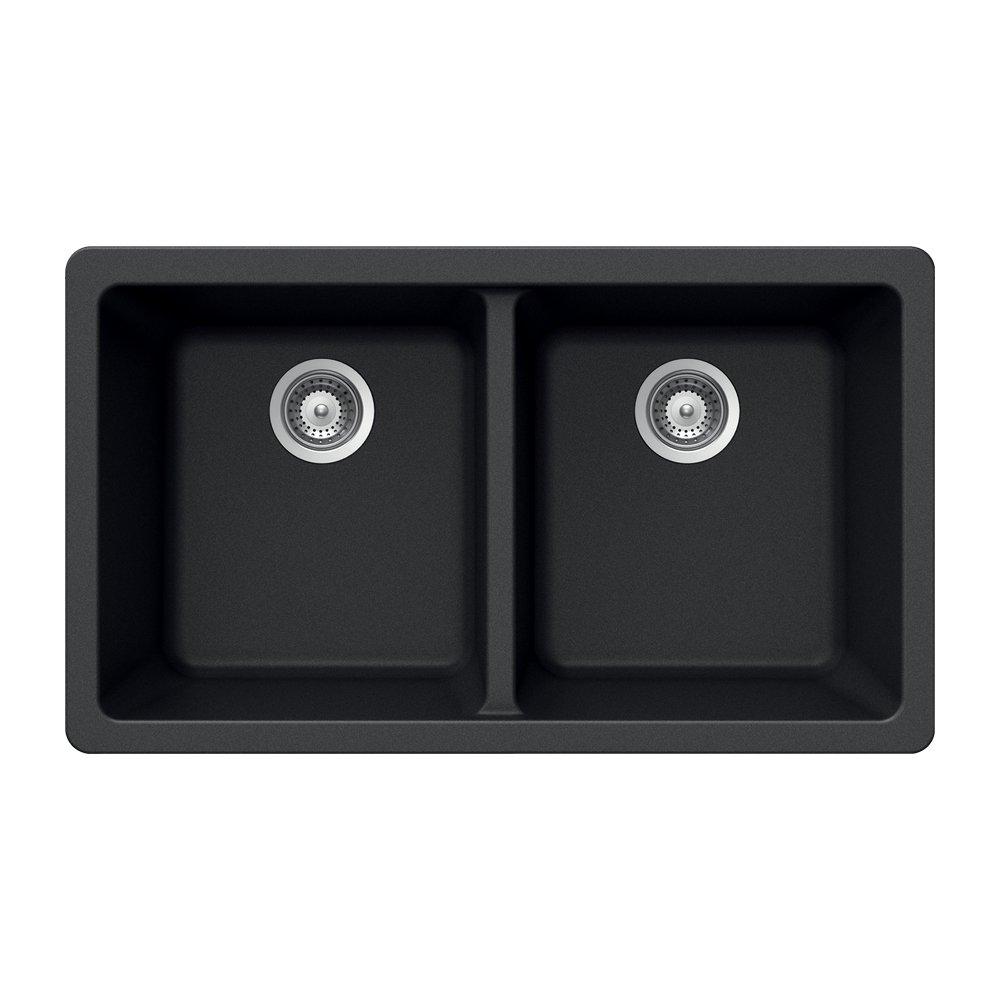 Houzer M-200U MIDNITE Quartztone Series Granite Undermount 50/50 Double Bowl Kitchen Sink, Black