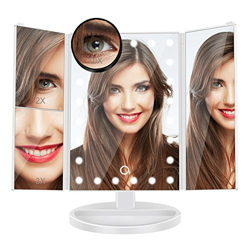 Makeup Vanity Mirror with 10x/3x/2x Magnification,Trifold Lighted Mirror with 24 Led Lights,Touch Screen, 180° Adjustable Rotation,Battery and USB Powered, Countertop Cosmetic Mirror (White)