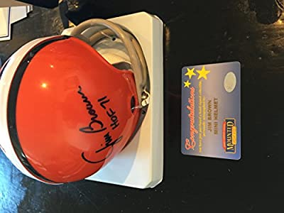 Jim Brown Signed Autographed Browns 2 Bar Mini Helmet Mounted Memories