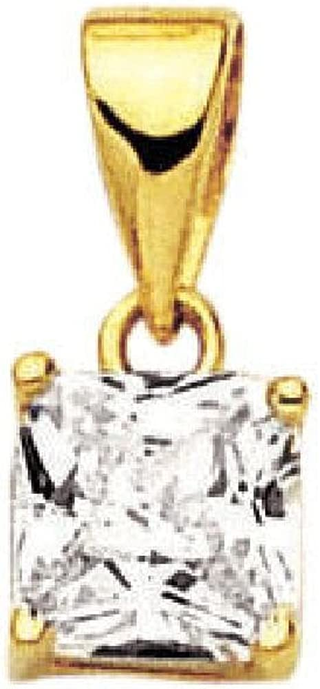 18k Gold Plated Clear Cubic Zirconia Square Pendant So Chic Jewels
