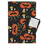 Roostery Halloween Witch Comic Pumpkin Crown Ballet Day Of The Dead Tea Towels Dance Halloween Pumpkins by Chicca Besso Set of 2 Linen Cotton Tea Towels