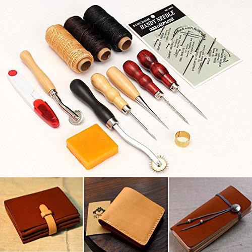 Paleo 13pcs mango de madera herramienta de artesanía en cuero de cuero caja de herramientas de costura a mano punzón cortador conjunto de bricolaje Beyond Paleo