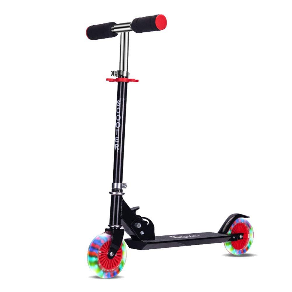 Chlyuan-sp Kindertretroller 2 Rad höhenverstellbar Roller mit LED leuchten Räder (blau) Für Kinder (Farbe   Schwarz Schwarz