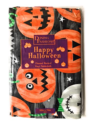Dining Fashions Halloween Tablecloths: Flannel Backed Vinyl Tablecloths with Halloween Themes - Various Shapes and Sizes (52