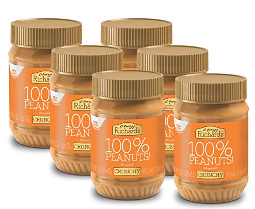 Crazy Richards Crunchy Peanut Butter, 100% Natural, Non-GMO, Gluten-Free, 16 Ounce Jars (Pack of 6)
