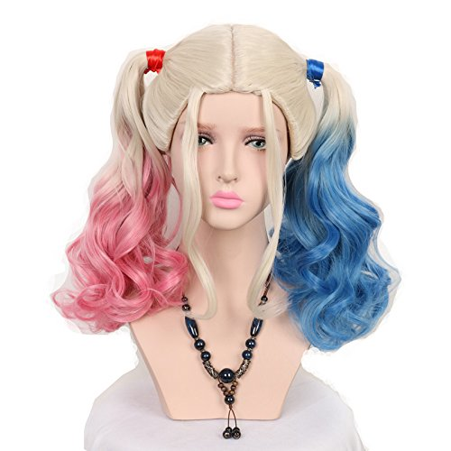 Yuehong Two Colors Wavy Medium Curly Synthetic Hair Dyeing Cosplay Wig Heat Resistant -