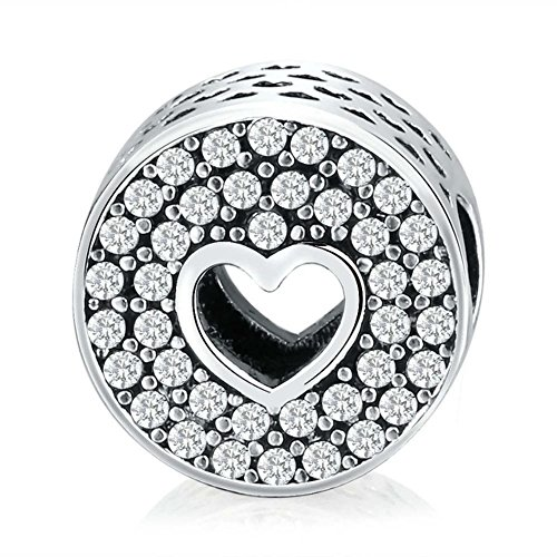 Charm Central Premium Pave Circle Heart Center Charm for Charm Bracelets - Fits Most Charm Bracelets (Butterfly Charm Pave)