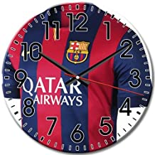 Attractive Silent Round Wall Clock Arabic Numbers Round Frameless Barcelona Fc 10 Inch / 25 cm Diameter