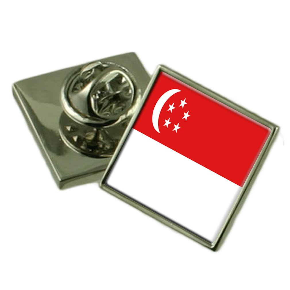 Singapore Flag Lapel Pin Badge Solid Silver 925