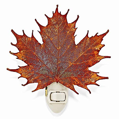 Night Copper Iridescent Lights - The Rose Lady Iridescent Copper Coated Real Sugar Maple Leaf Nightlight -Made in USA