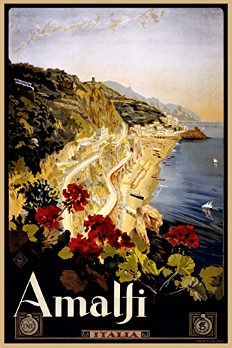 EzPosterPrints - Vintage Style Travel Poster Series- Poster Printing - Wall Art Print for Home Office Decor - Amalfi-Italy - 12X18 inches
