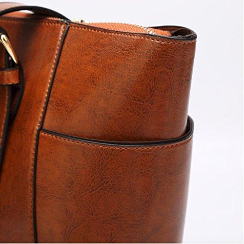 Women's Vintage Fine Fibre Genuine Leather Bag Tote Shoulder Bag Handbag Model Pocket Black by AMAIA DURAN (Image #4)