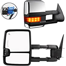 YITAMOTOR Towing Mirrors for Chevy Silverado GMC Sierra 2003-2007 Pair Set Power Heated Chrome Amber Led Signal Light Side Mirrors (07 Classic models)