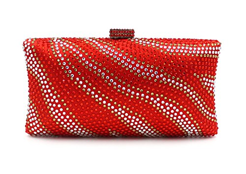 - Flada Crystal Evening Clutch Purse Bags for Women with Striped Zebra Red