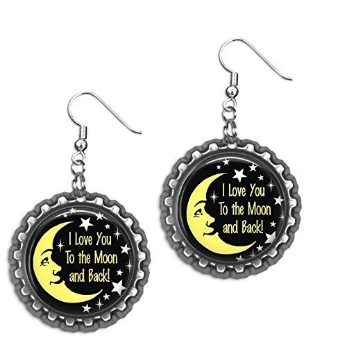I love you to the Moon and Back Bottlecap Earrings
