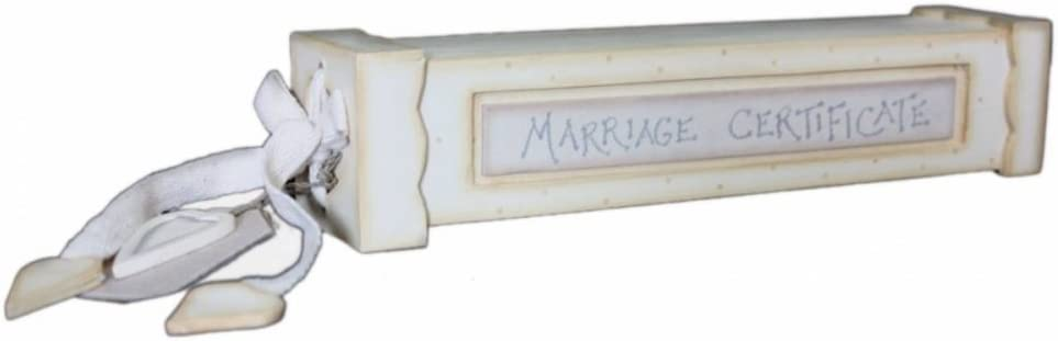 Personalised Silver Wedding//Marriage Certificate Holder Box With Rings Design.