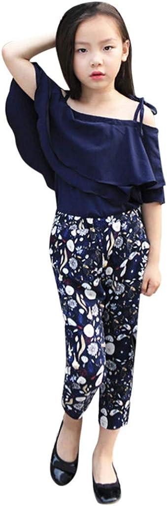 Ensemble Bebe Fille Pantalon Floral M/élange de Coton Binggong B/éb/é Fille Bowknot Robes /Écharpe T-Shirt Tops