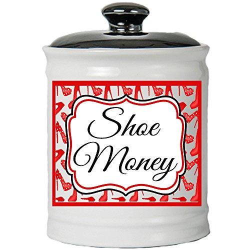 Cottage Creek Shoe Lover Gifts Round Ceramic Shoe Money Jar/Shoe Fund Piggy Bank Shoe Gifts for Women [White]