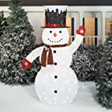 "72"" Pop-Up Fluffy Snowman Sculpture"