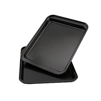 AOGVNA FDA 2 Pack 9.5 x 7 Inch Nonstick Rectangular Bakeware and Cookie Sheet Set Pan Set Serving Tray, Dark Grey, Baking Pan No Stick Cake Maker Cookie Sheet,2 Pcs