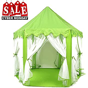 Play Tent Child Princess Castle Indoor and Outdoor Large Play House Game House Green  sc 1 st  Amazon.com & Amazon.com: Springbuds Kids Blue Princess/Prince Castle Play Tent ...