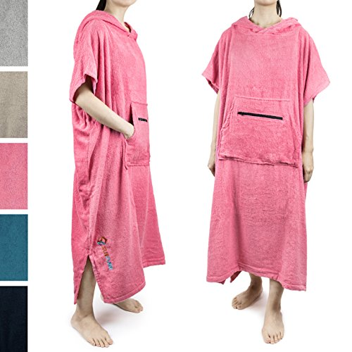 Women' Surf Poncho Changing Robe with Hood, Zippered Pocket, Adjustable Sleeves   Beach, Swim, Wetsuit, Watersports Changing Towel   One Size Fits All   Thick Absorbent 100% Terry Cotton (Pink) (Sport Towel Terry)