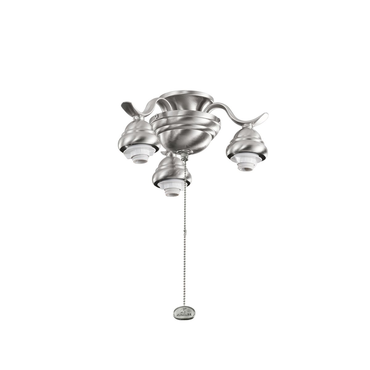 Glass Sold Separately Kichler  350101BSS Decorative 3-Light Ceiling Fan Light Fitter Brushed Stainless Steel Finish