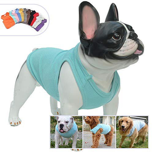 Lovelonglong 2019 Summer Pet Clothing, Dog Clothes Blank T-Shirts Ribbed Tanks Top Thread Vests for Large Medium Small Dogs 100% Cotton SkyBlue L (Best Summer T Shirts 2019)