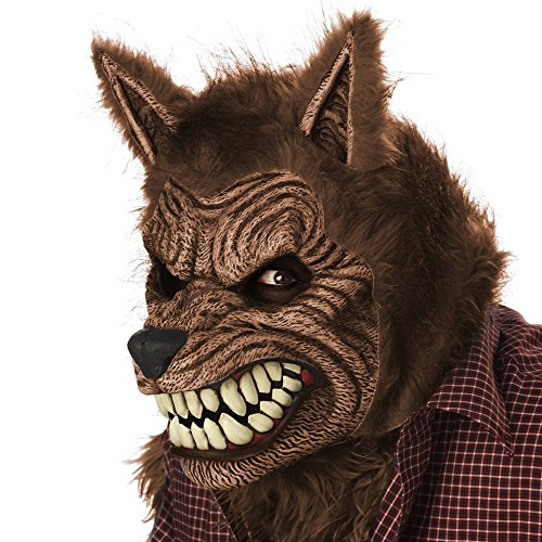 California Costumes Men's Werewolf Ani-Motion Mask Lycan Horror, Brown, One Size